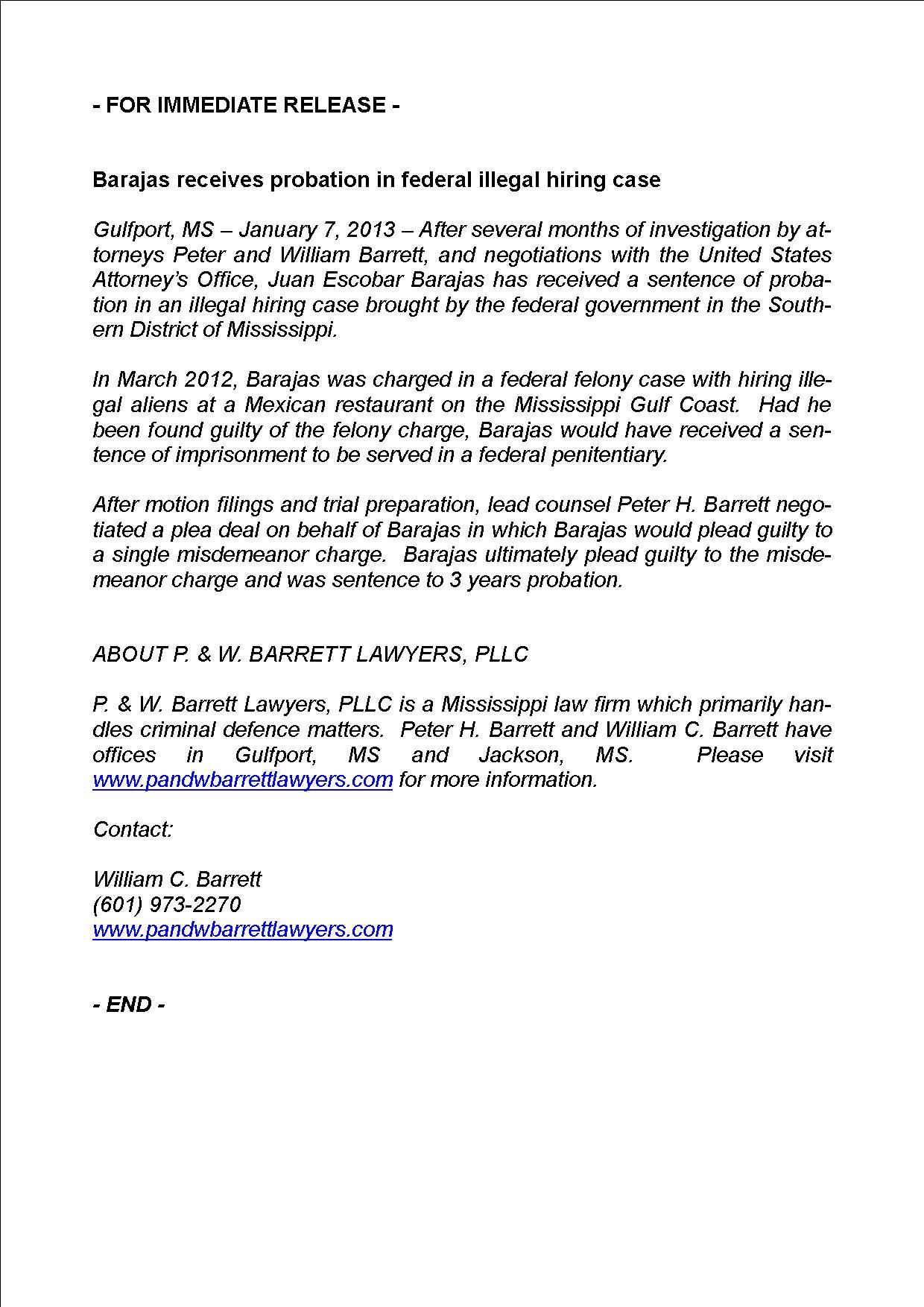 Barajas receives probation in federal illegal hiring case